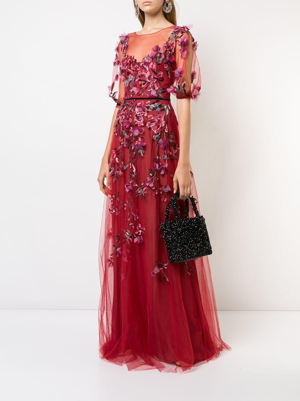 b9ce74e4fbd171 Lyst - Marchesa notte Embroidered Floral Tulle Gown in Red - Save 50%