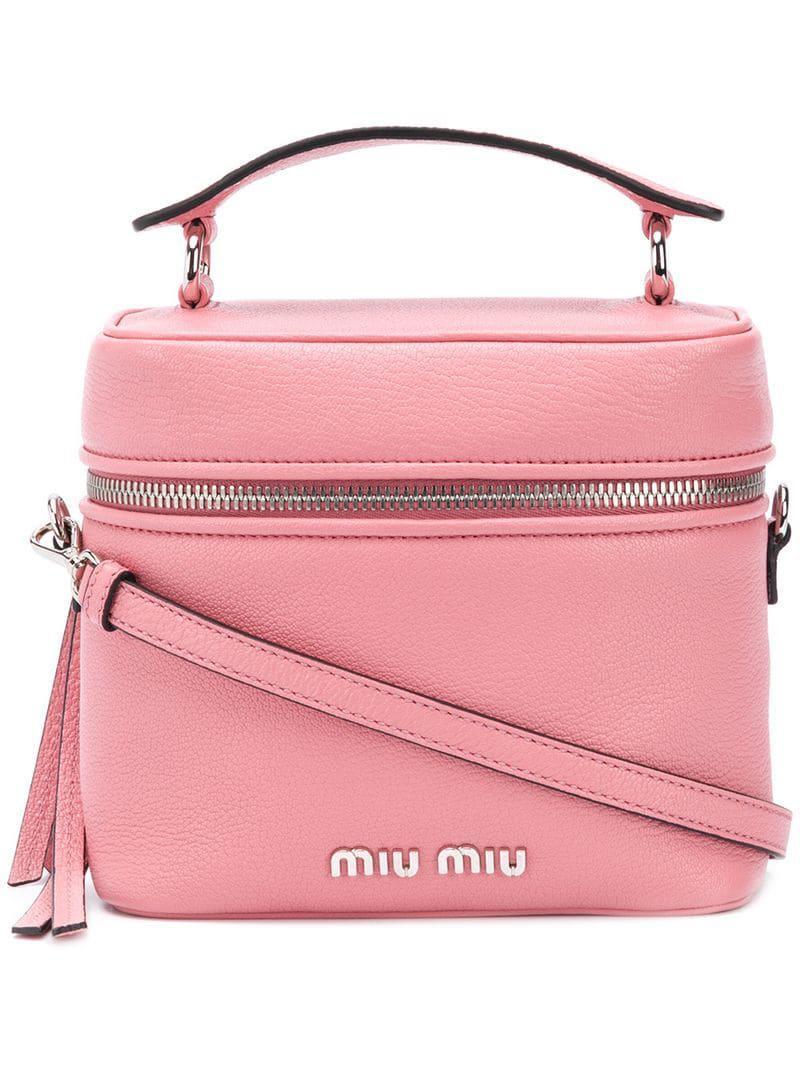 ddaccdb0585e Lyst - Miu Miu Madras Medium Bucket Bag in Pink