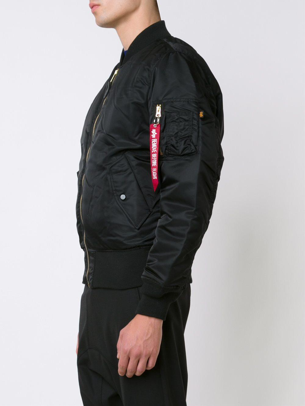 Alpha Industries Synthetic Ma-1 Blood Chit Flight Jacket in Black for Men