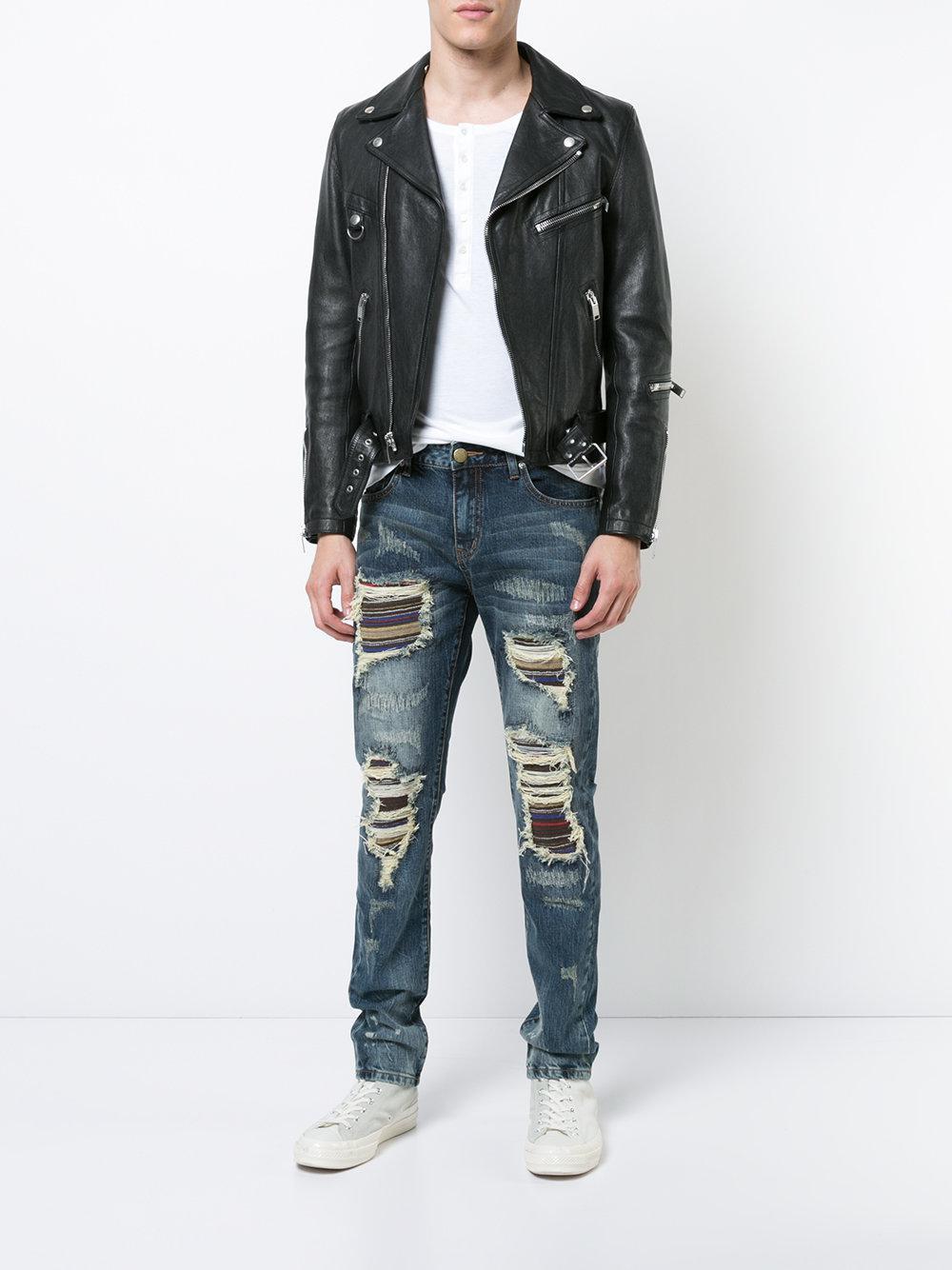 God's Masterful Children Denim Soto-stripe Panel Geripte Jeans in het Blauw voor heren