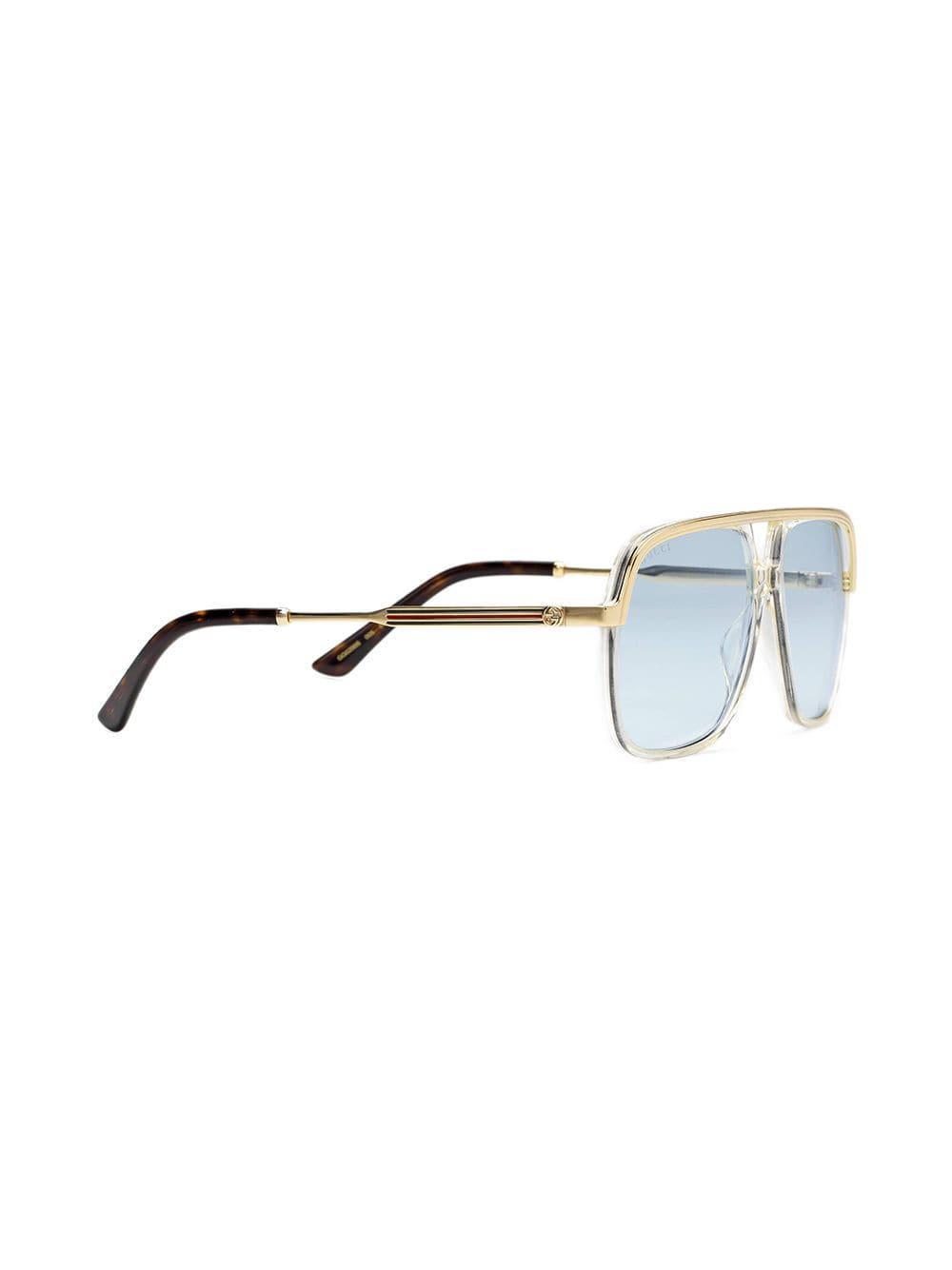 29e6b7bbd3b7 Gucci Rectangular-frame Metal Sunglasses in Metallic for Men - Lyst