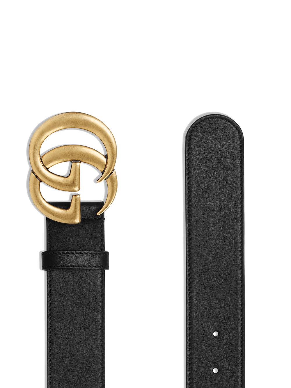 de27a839691 Gucci Leather Belt With Double G Buckle in Black - Save 4% - Lyst