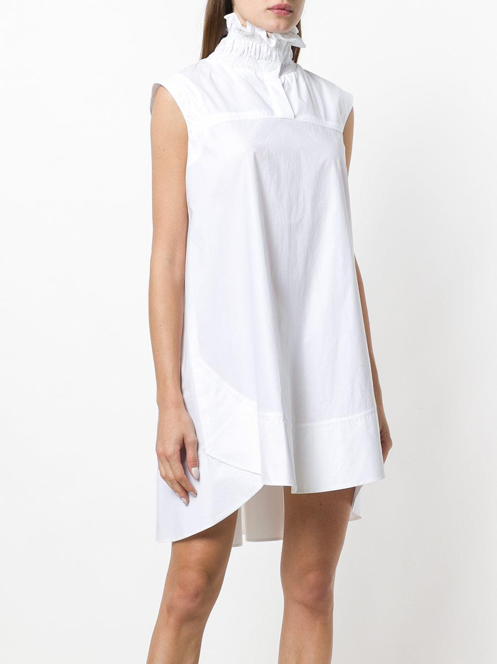 ruffled-collar asymmetri mini dress - White Carven Clearance Get Authentic Good Selling Exclusive Cheap Online Quality Original Buy Cheap Pay With Paypal jR0bndQ