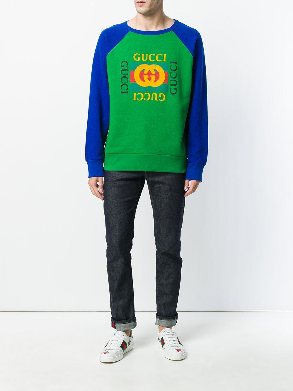 09ea1d5fba3 Gucci Print Sweatshirt in Green for Men - Save 42% - Lyst