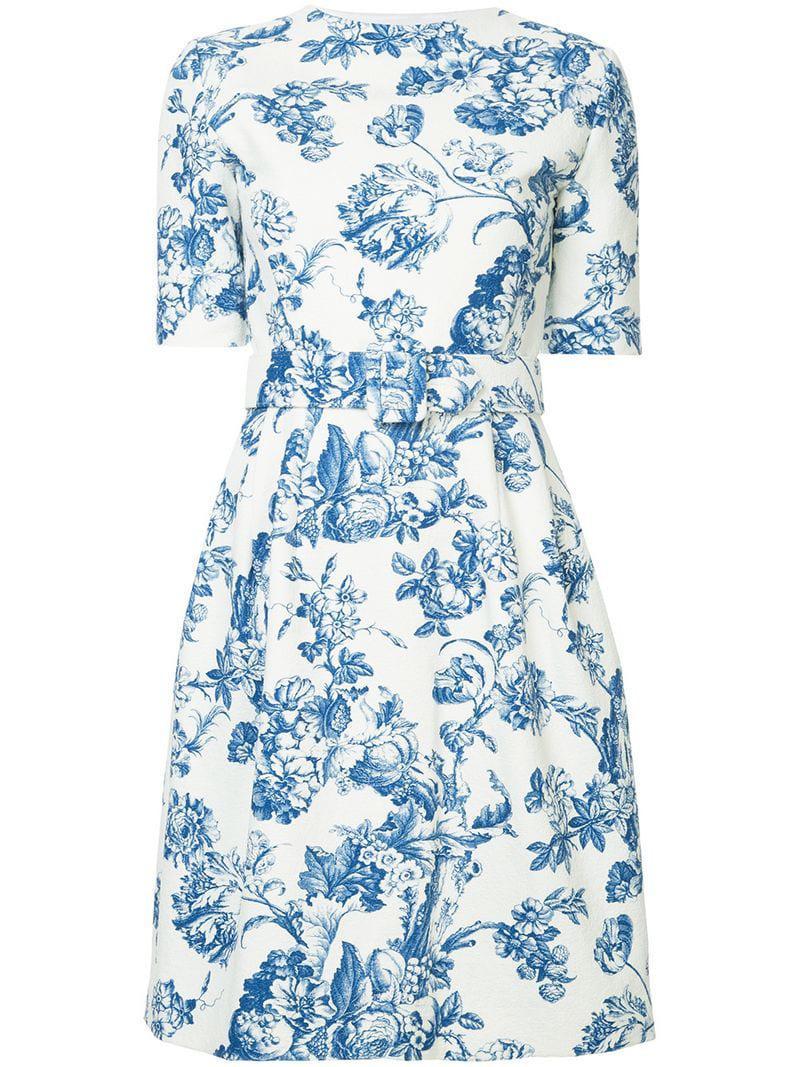 b5f14342f40 Lyst - Oscar De La Renta Printed Belted Dress in White