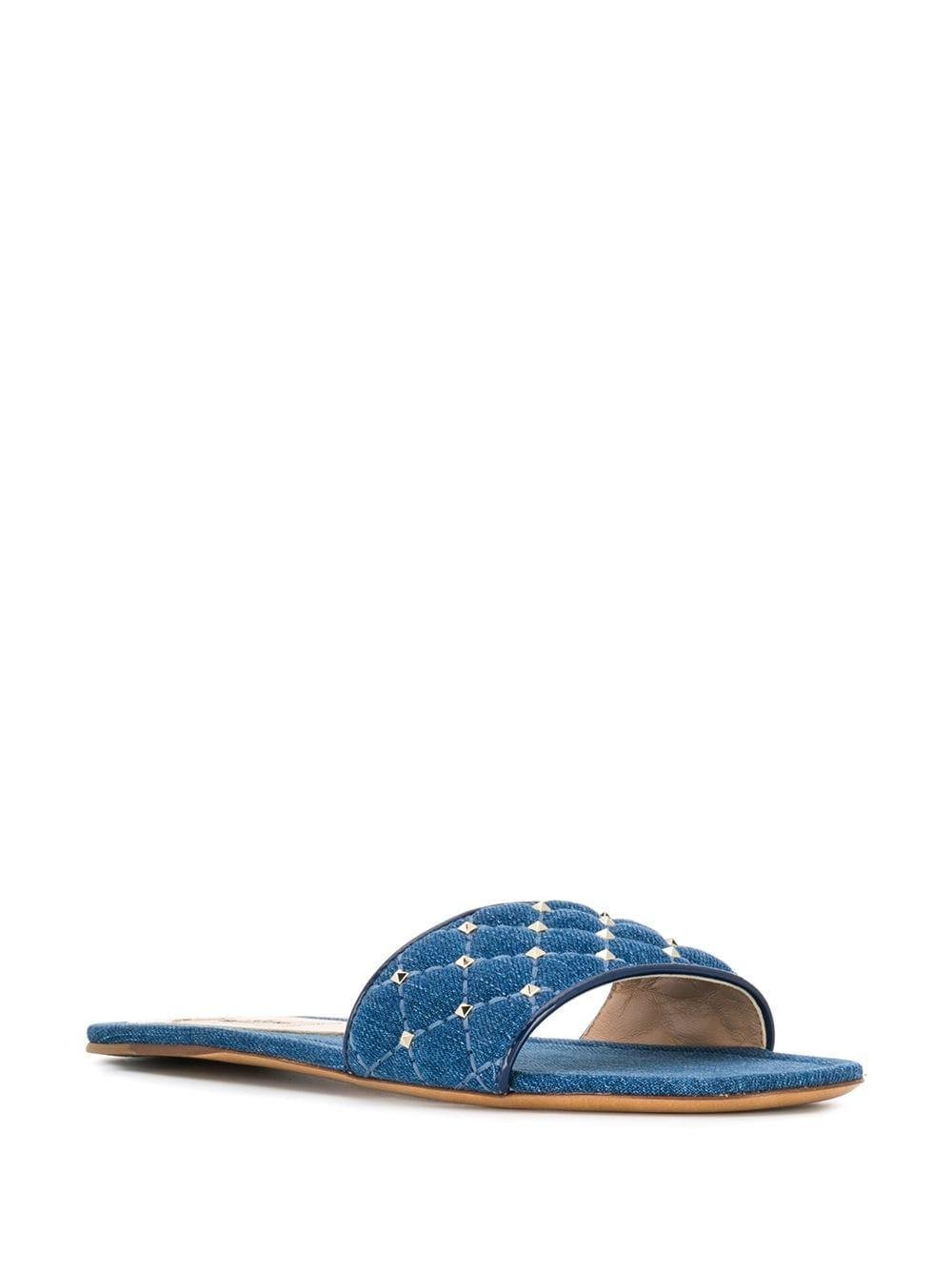 61bad6019a4e Lyst - Valentino Garavani Rockstud Denim Sandals in Blue