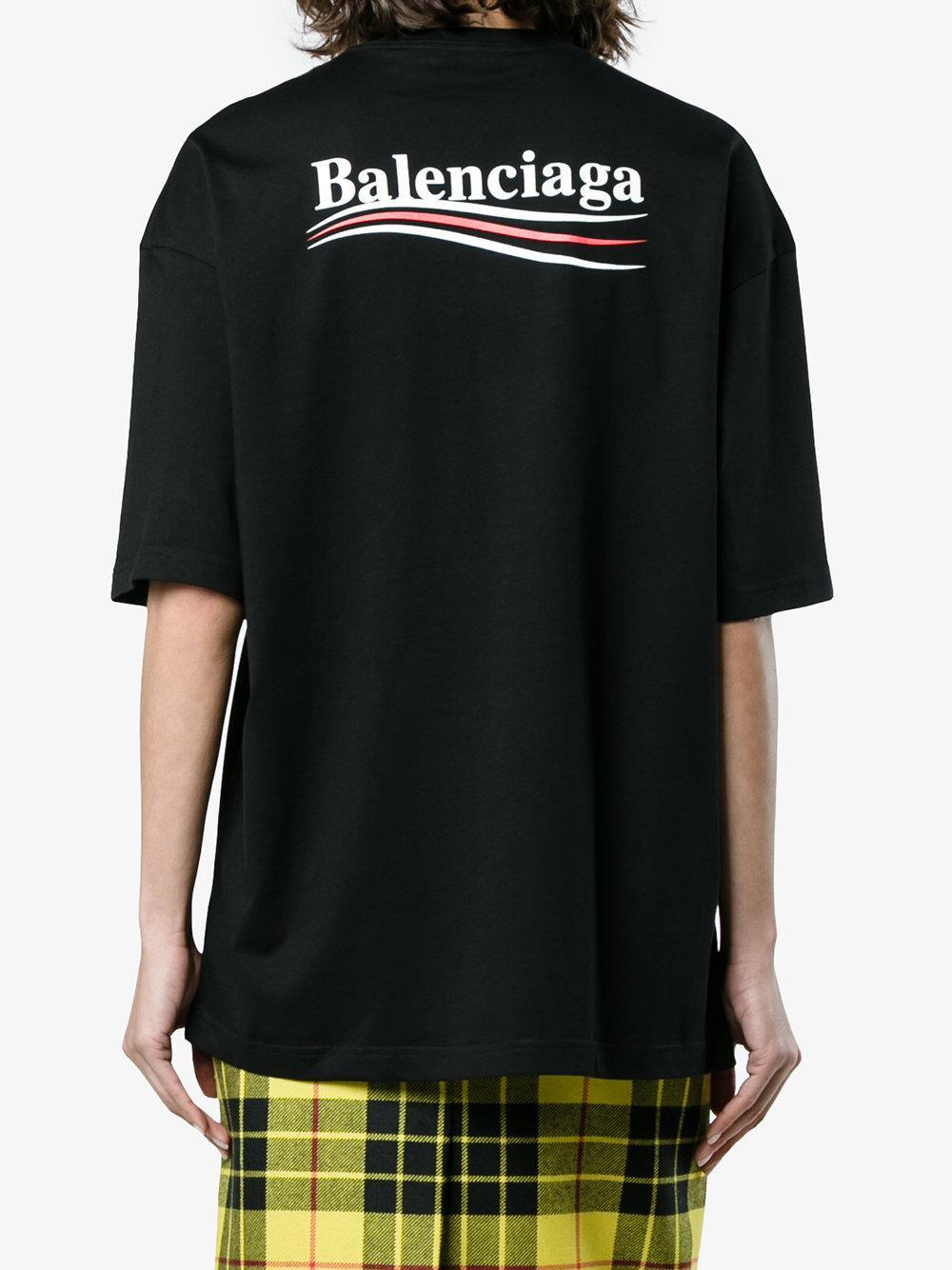Camiseta negra con logo Balenciaga de Algodón de color Negro