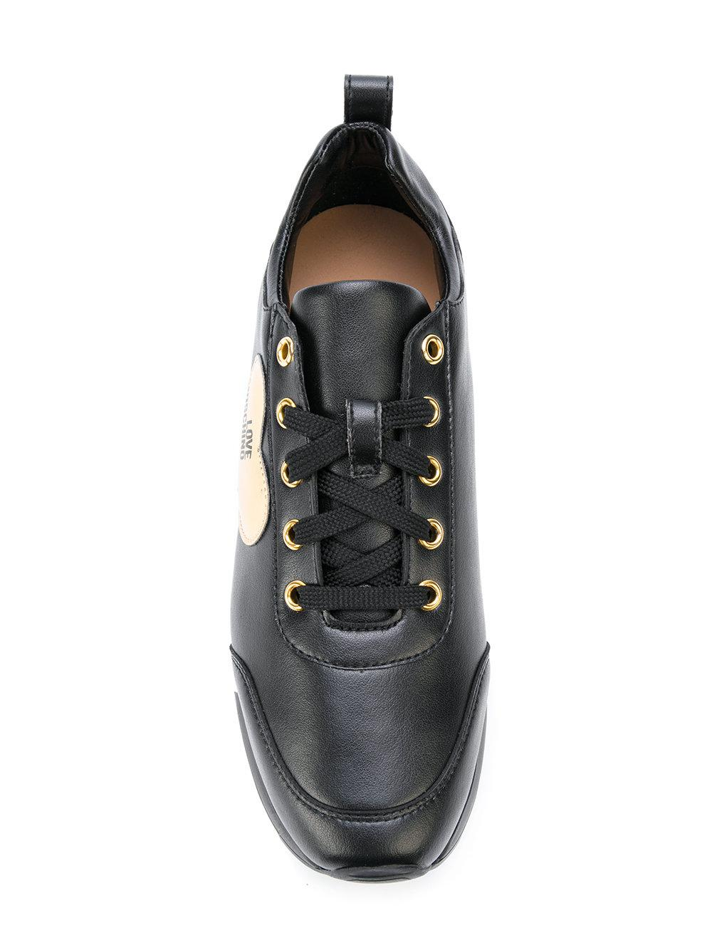Love Moschino Leather Heart Sneakers in Black