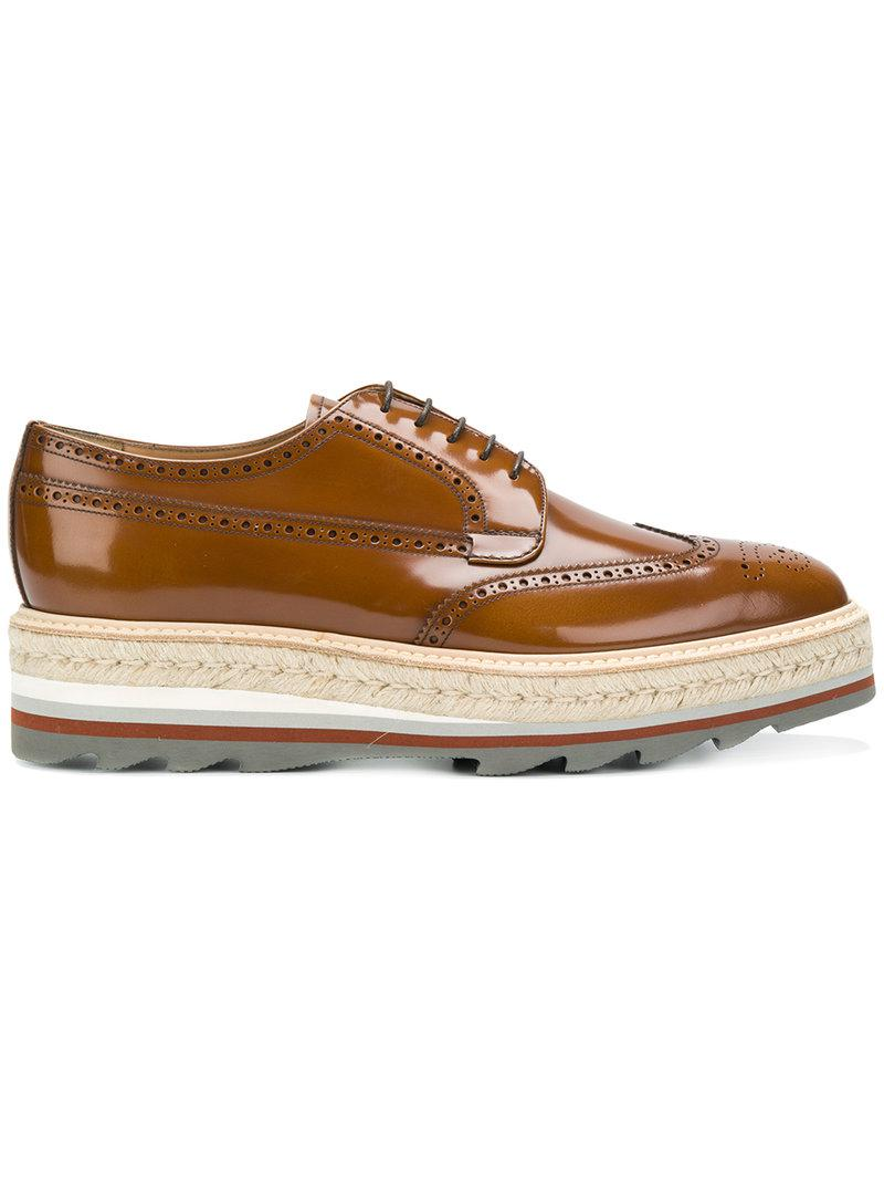 9d0fe7c73978 Prada Platform Brogues in Brown for Men - Lyst