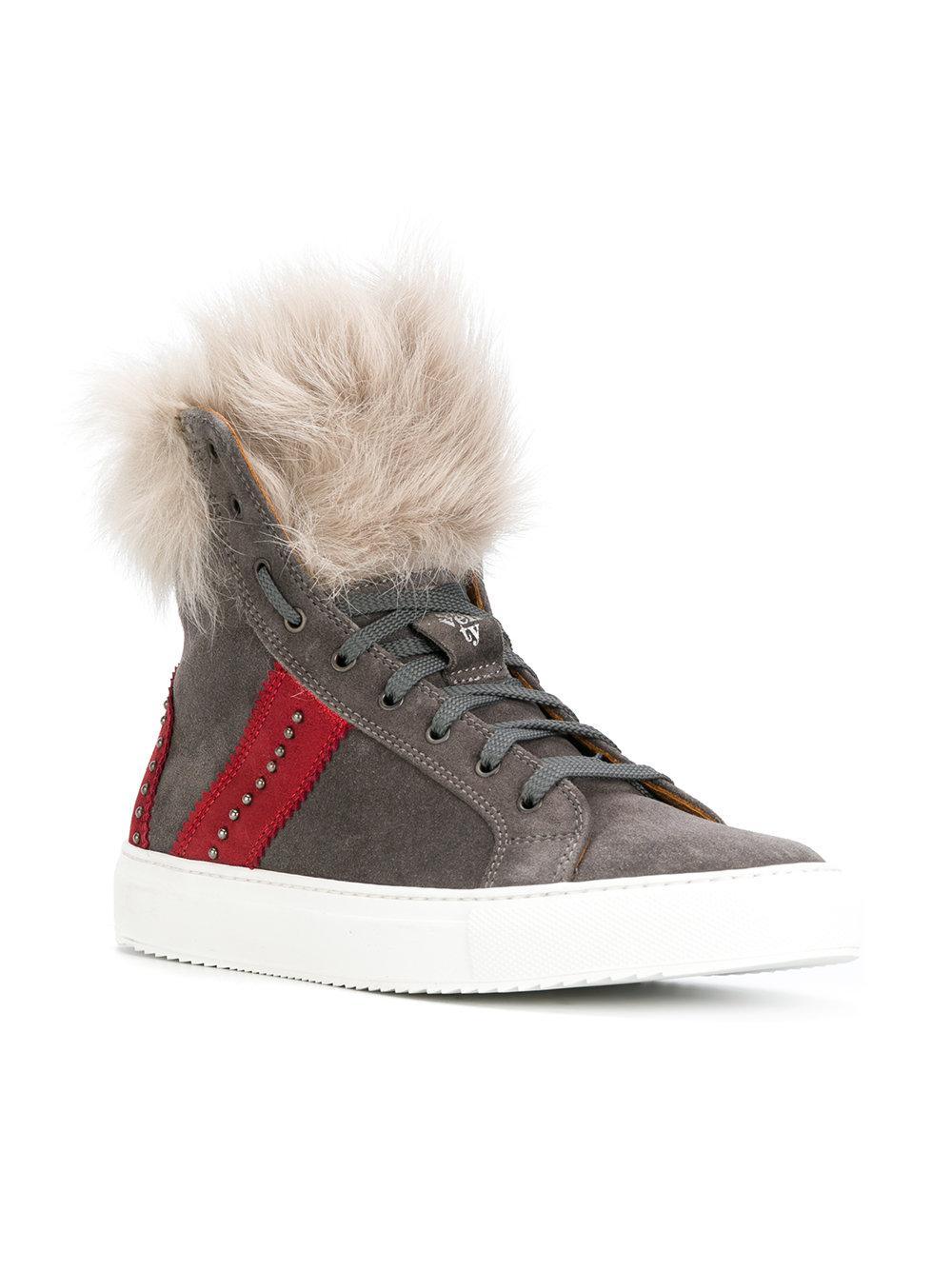 Eleventy Stripe Detail Fur Sneakers in Grey (Grey)