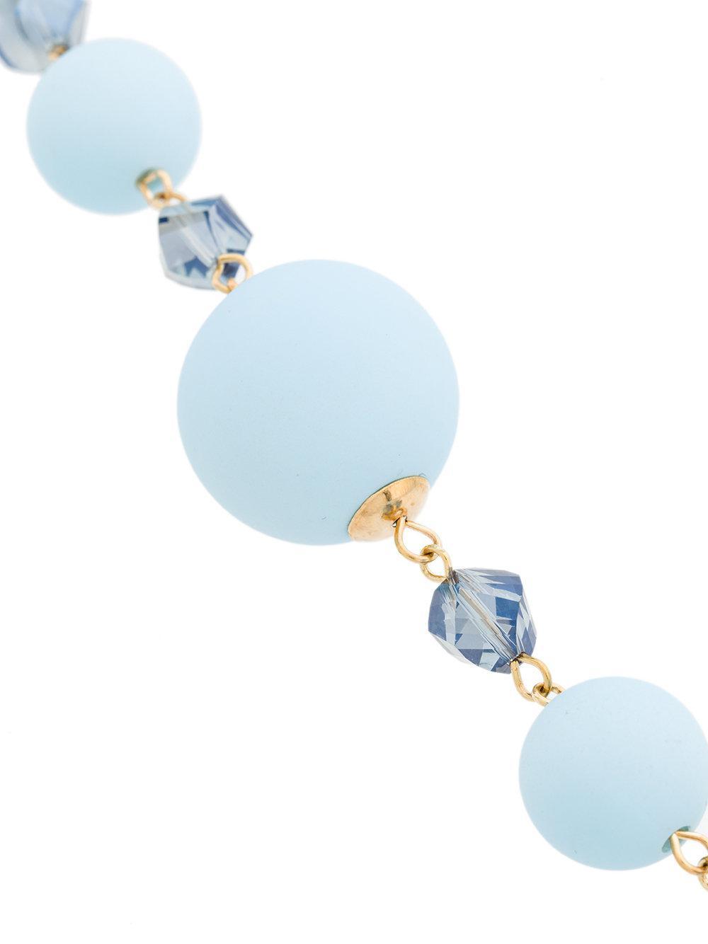 Edward Achour Paris Long Pearl Necklace in Blue