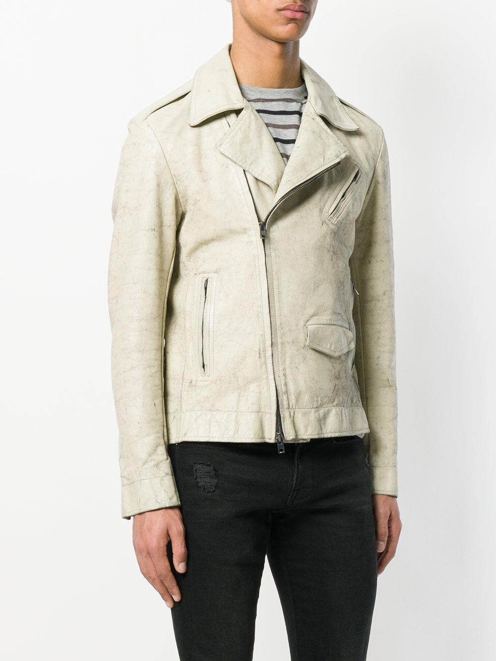Salvatore Santoro Leather Marble Effect Biker Jacket in White for Men