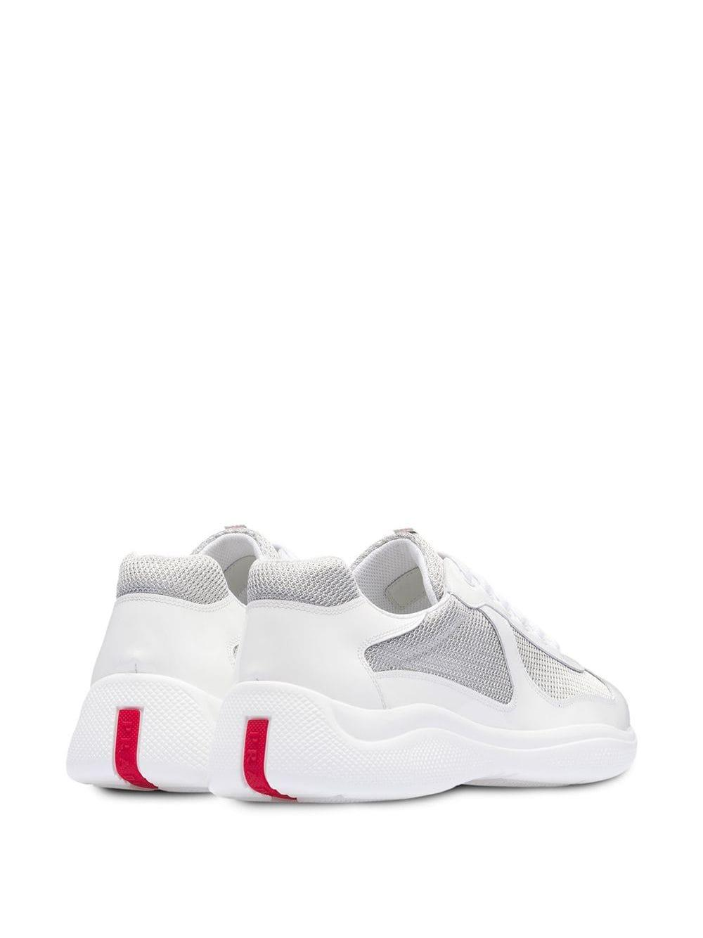 Prada Leather Technical Sneakers in White for Men