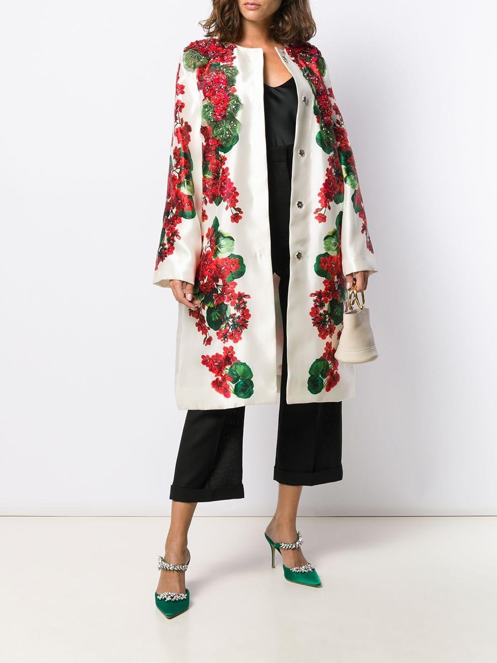 Manteau à fleurs Soie Dolce & Gabbana en coloris Blanc e4W3P