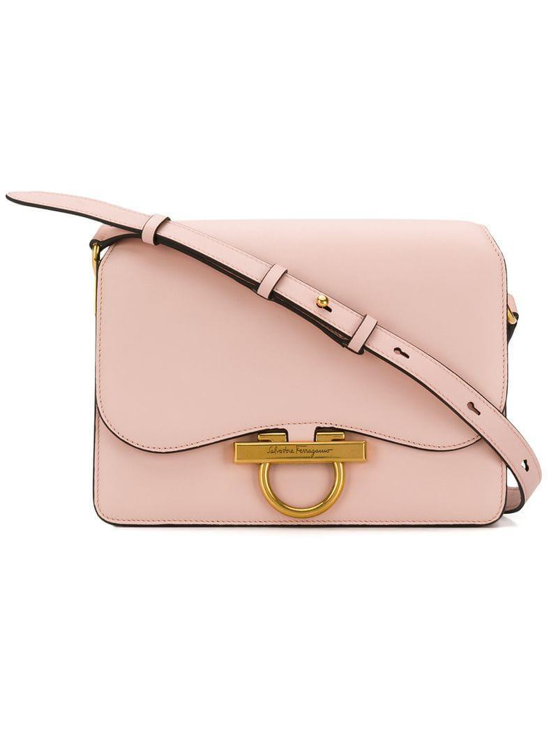 dce45f7b2d25 Lyst - Ferragamo Gancio Flap Shoulder Bag in Pink