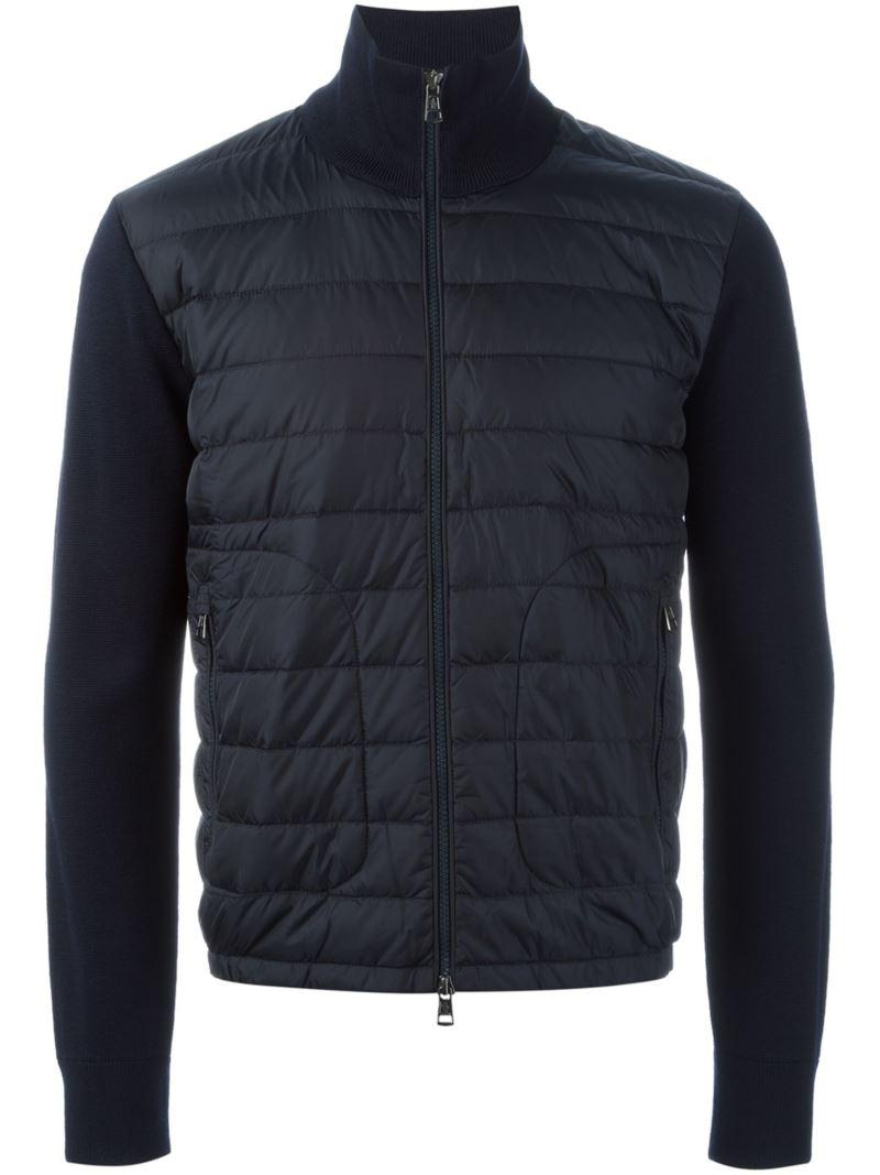 Moncler Knitted Sleeve Jacket In Blue For Men Lyst