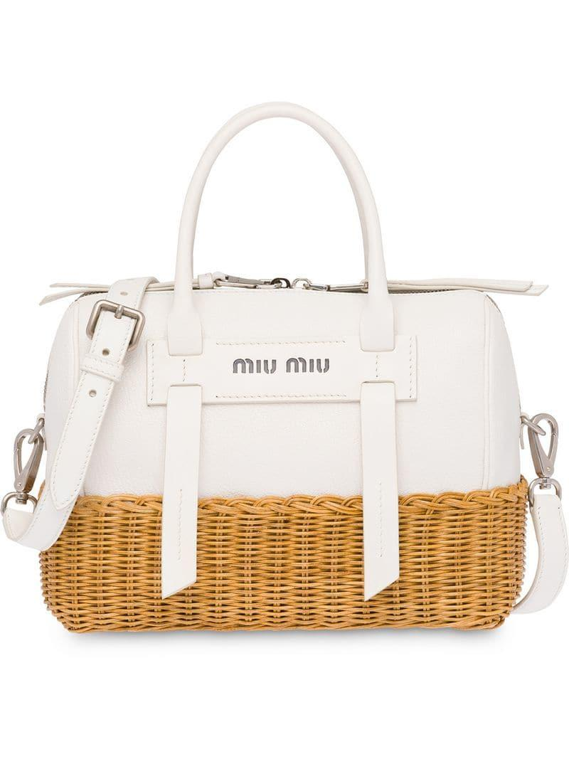 a8d0c8563539 Miu Miu Wicker And Madras Bag in White - Lyst