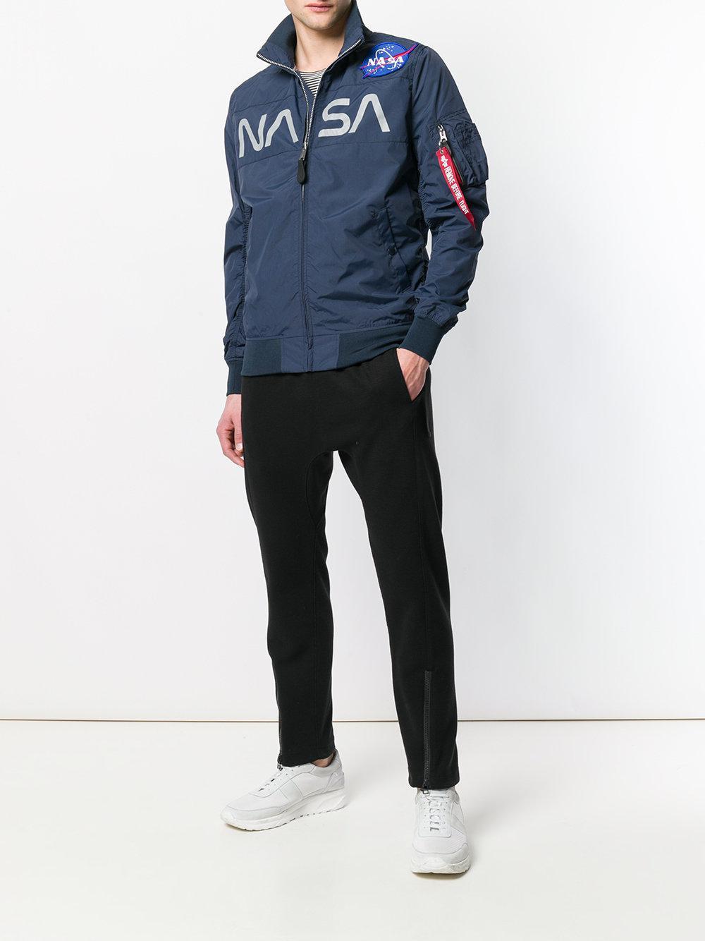 Alpha Industries Synthetic Nasa Flight Bomber Jacket in Blue for Men