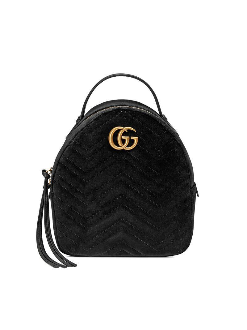 47d2ed02c482 Gucci GG Marmont Velvet Backpack in Black - Save 44.859038142620236 ...