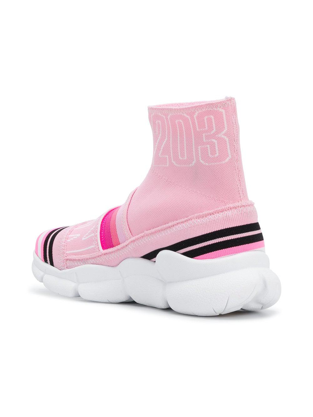 MSGM Cotton Branded Sock Sneakers in Pink