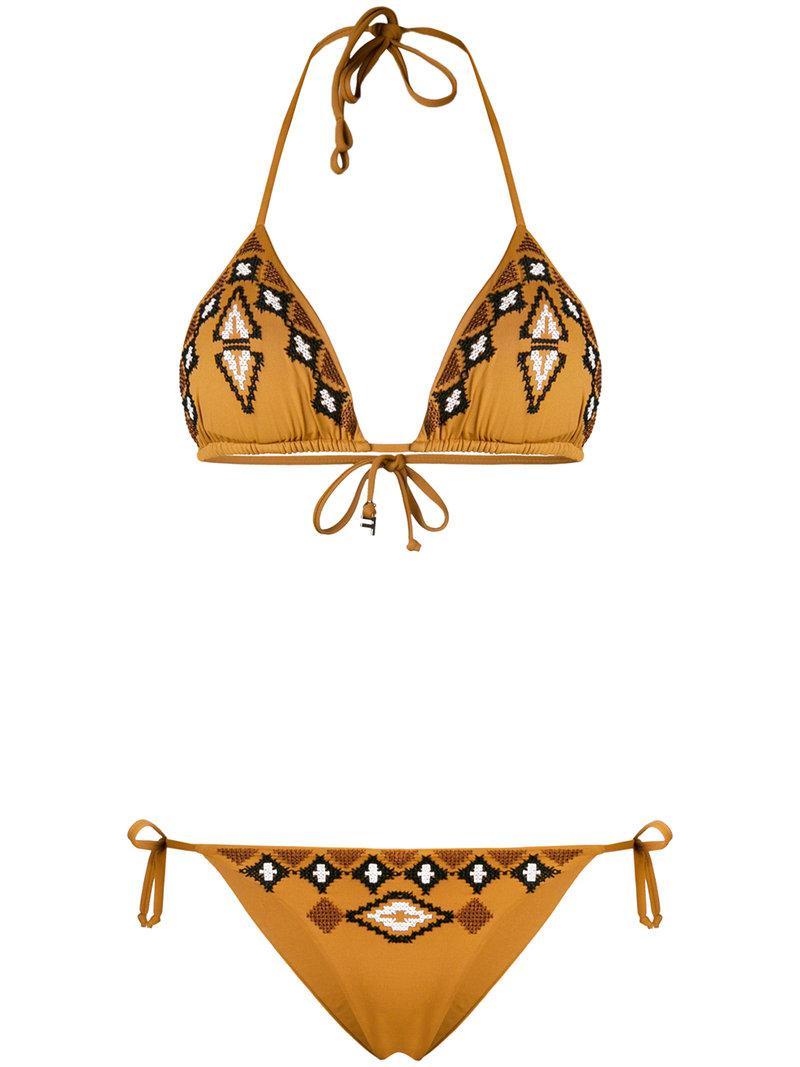 3f14eff6cb Fisico Embroidered Pattern Bikini in Brown - Lyst