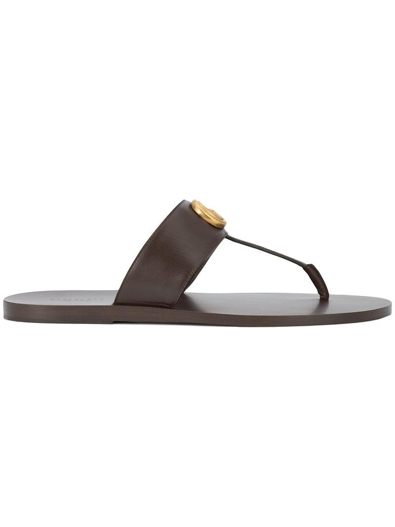 04a67c578821 Lyst - Gucci Gg Logo Sandals in Brown