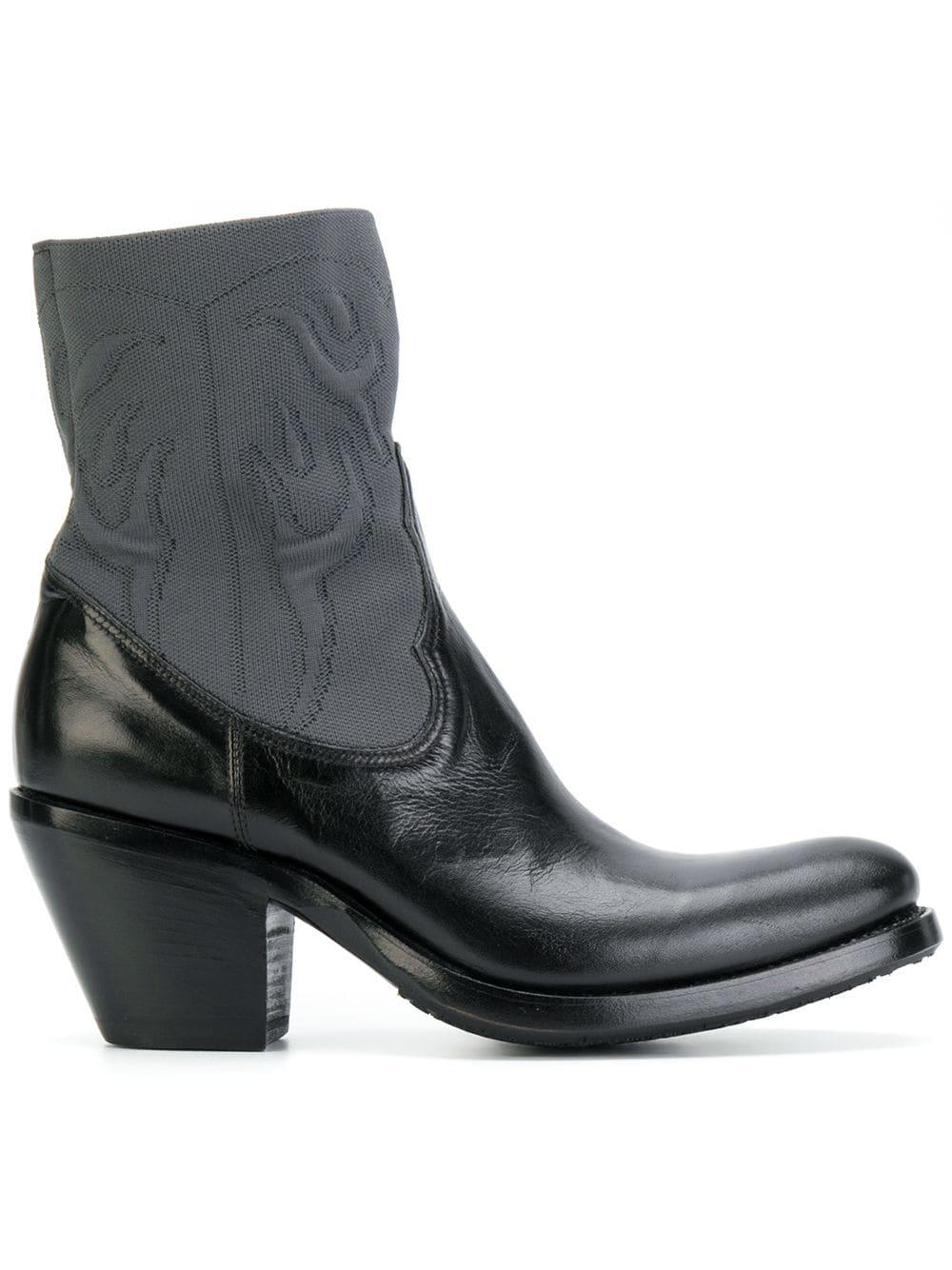 Rocco P Leather Cowboy Style Boots in Black