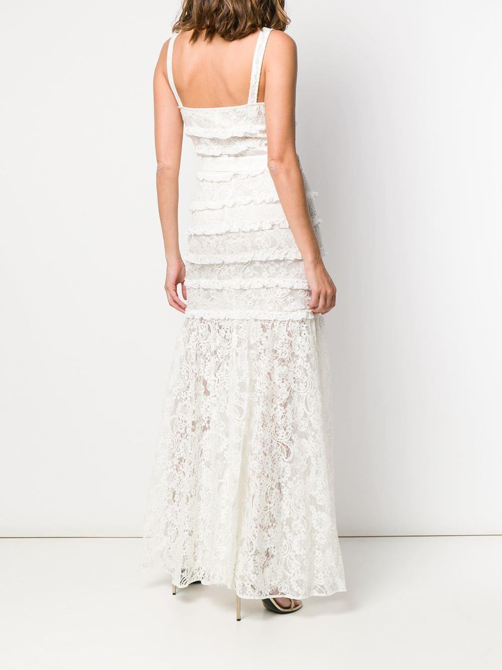 Vestido de encaje con volantes Alessandra Rich de Encaje de color Blanco