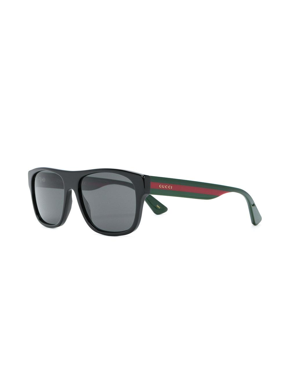 bceeeccc2f475 Lyst - Gucci Web Arm Square Glasses in Black for Men