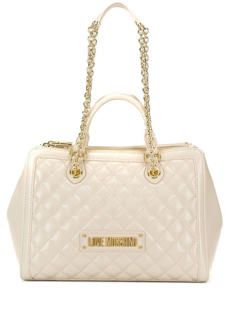 a35901cf3fdb Love Moschino - Natural Quilted Tote - Lyst. View fullscreen