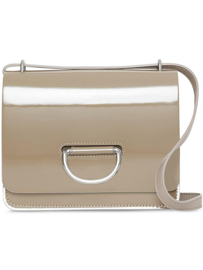 Burberry The Small Patent Leather D-ring Bag in Gray - Lyst 7744b5fd8a04c