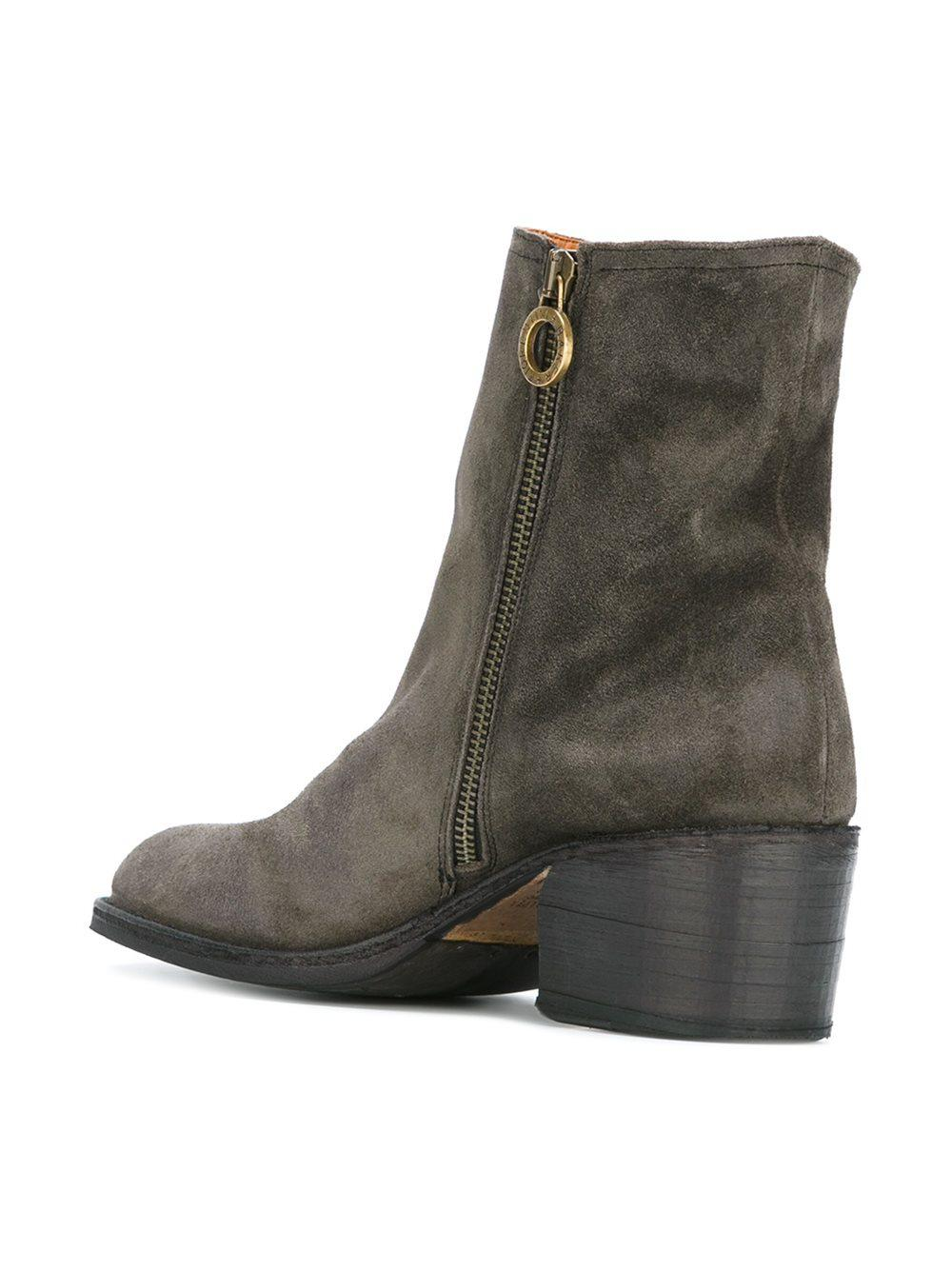 Fiorentini + Baker Leather Zip Ankle Boots in Grey (Grey)