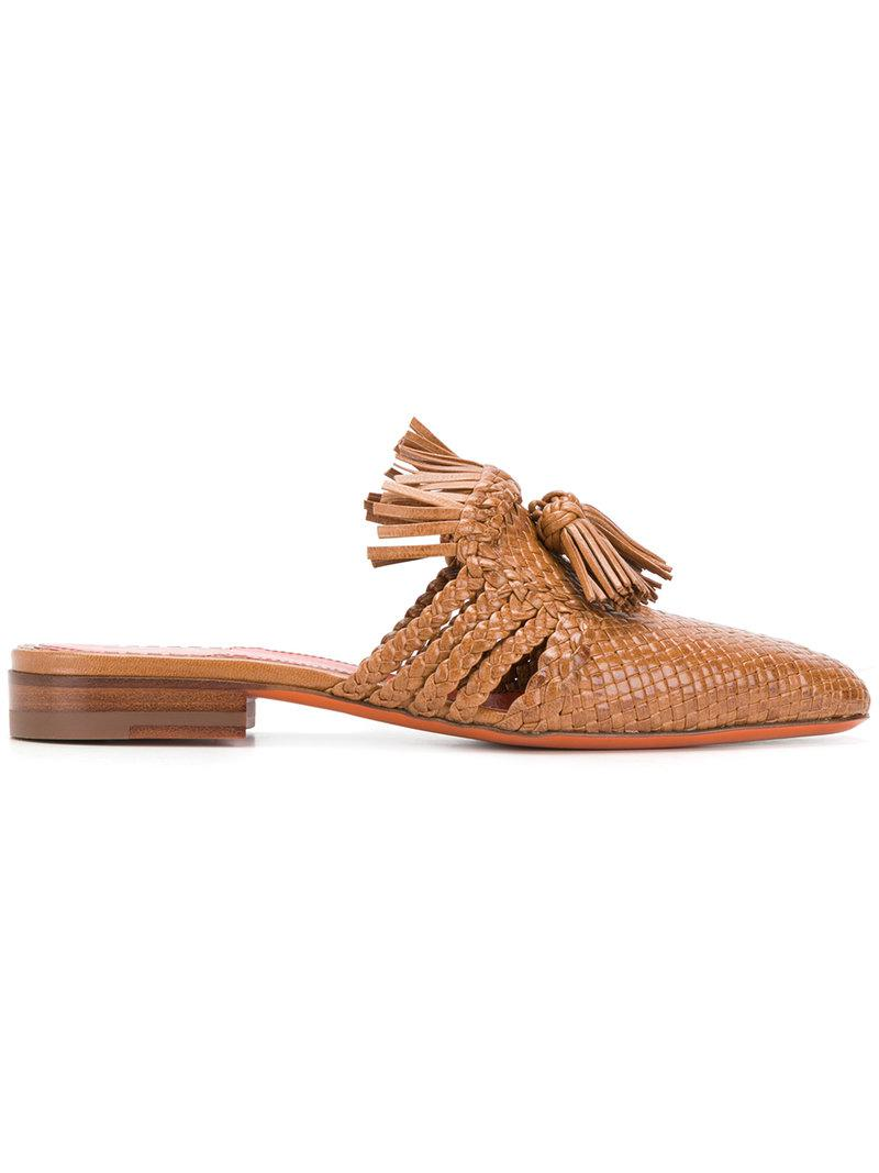 Pictures For Sale weave and tassel front sandals - Brown Santoni Comfortable Online Discount Shop Discount Many Kinds Of 1mtzH08H