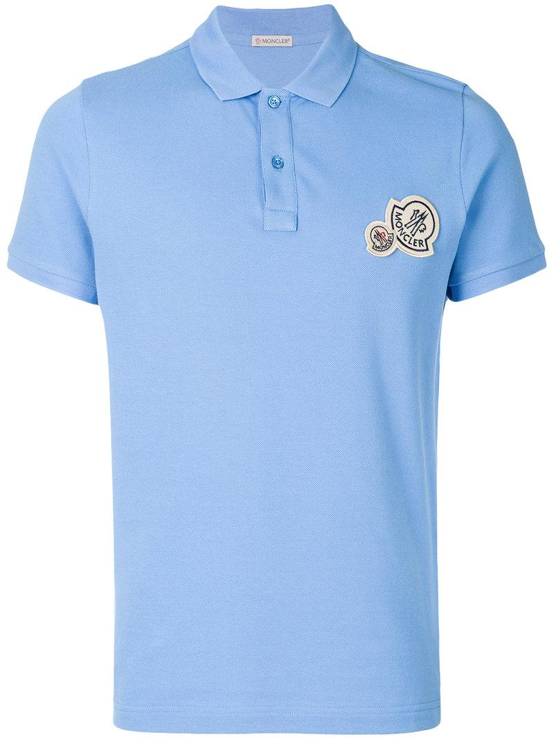 Moncler logo polo shirt in blue for men lyst for Man in polo shirt
