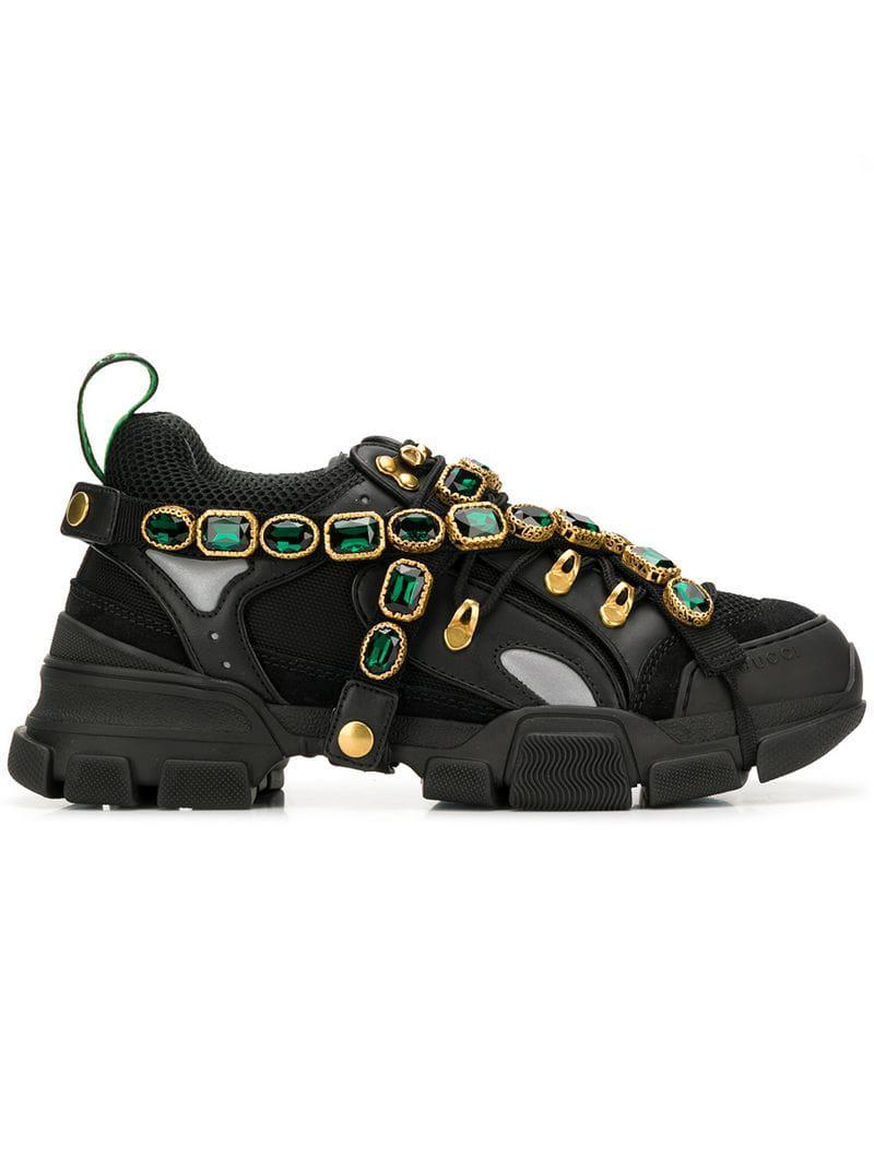 d74419dec00 Lyst - Gucci Flashtrek Sneakers With Removable Crystals in Black for Men