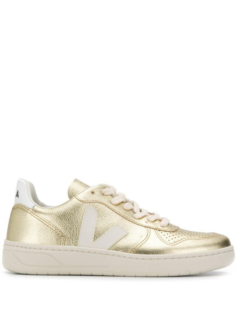 Gold Metallic Leather Sneakers - Lyst