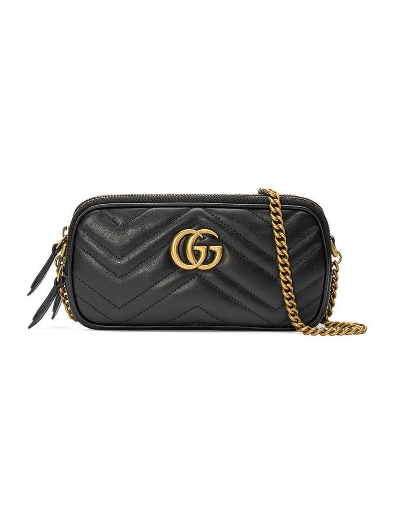 e3254f1f92f Gucci GG Marmont Mini Chain Bag in Black - Lyst