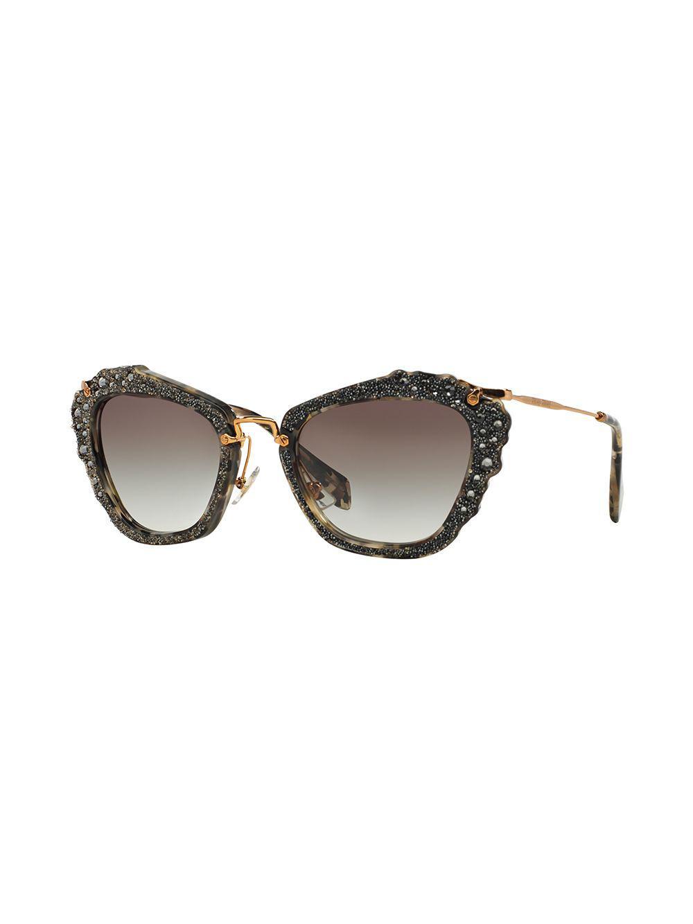 6bc9b0c7db28 Lyst - Miu Miu Noir Glitter Sunglasses in Black