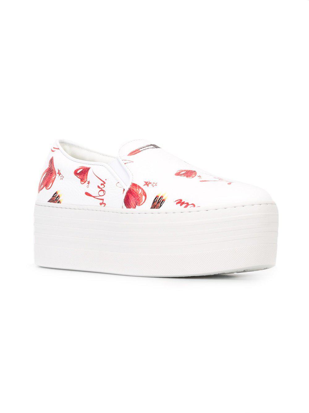 Philipp Plein Leather Printed Flatform Sneakers in White