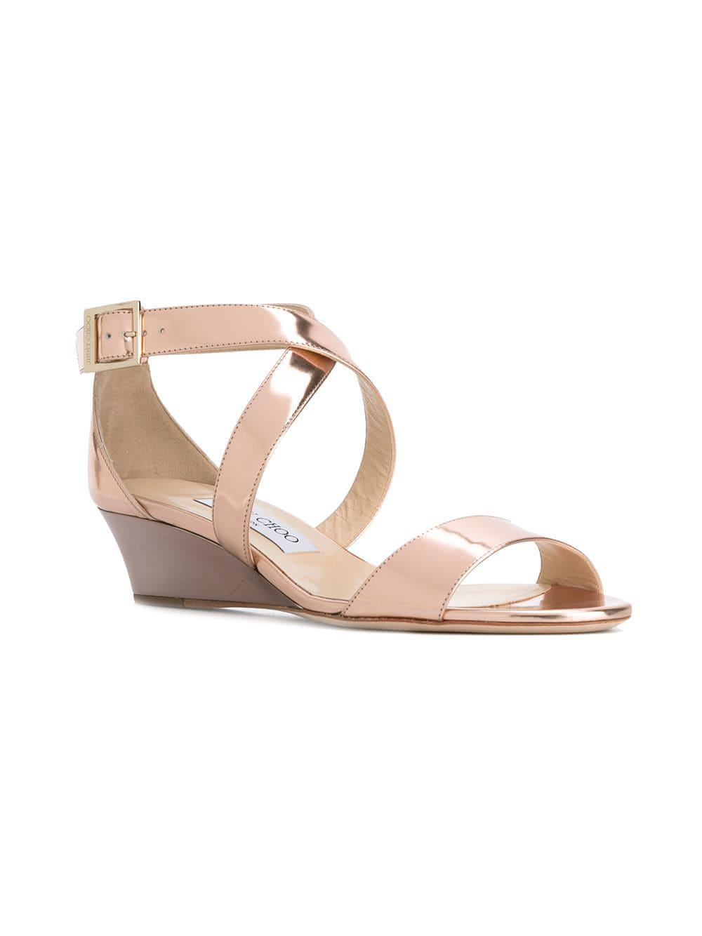 27ff6542b455 Jimmy Choo - Wedge Sandals - Women - Leather patent Leather - 36 in Pink -  Lyst