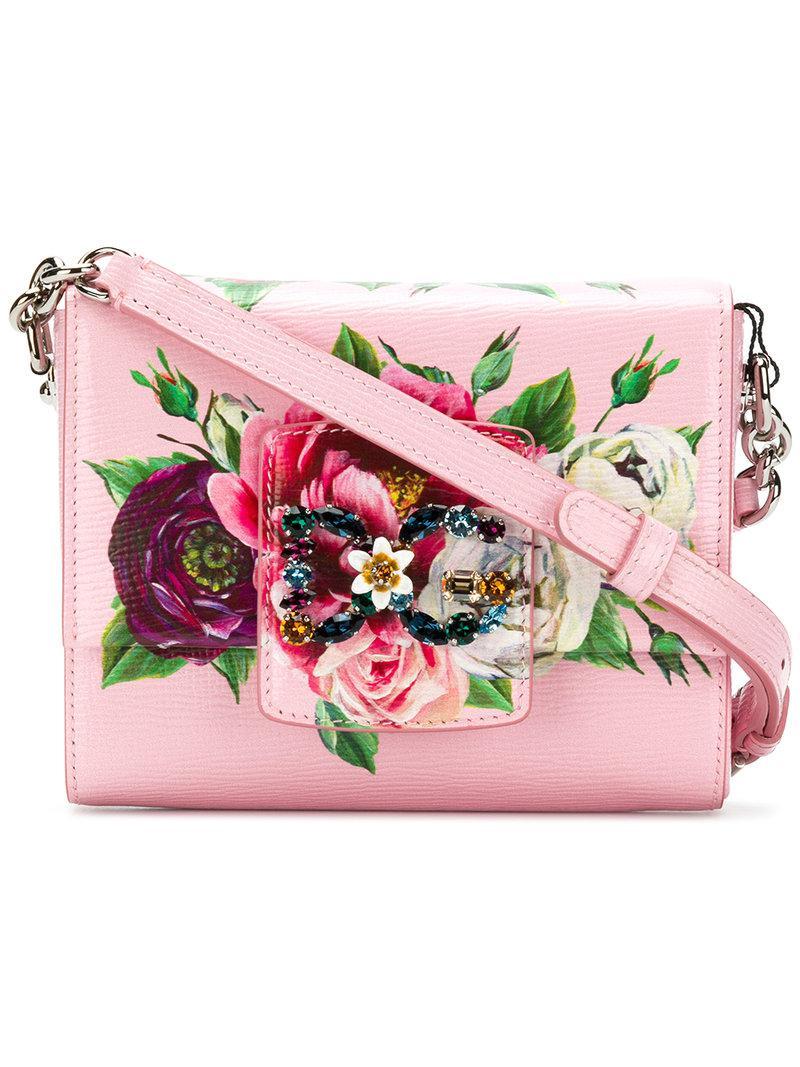 floral rhinestone logo shoulder bag - Pink & Purple Dolce & Gabbana faQDY