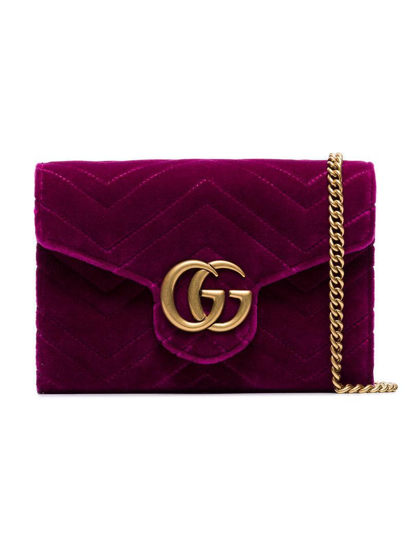 Lyst - Cartera GG Marmont con cadena Gucci de color Morado ad9ec472fe9