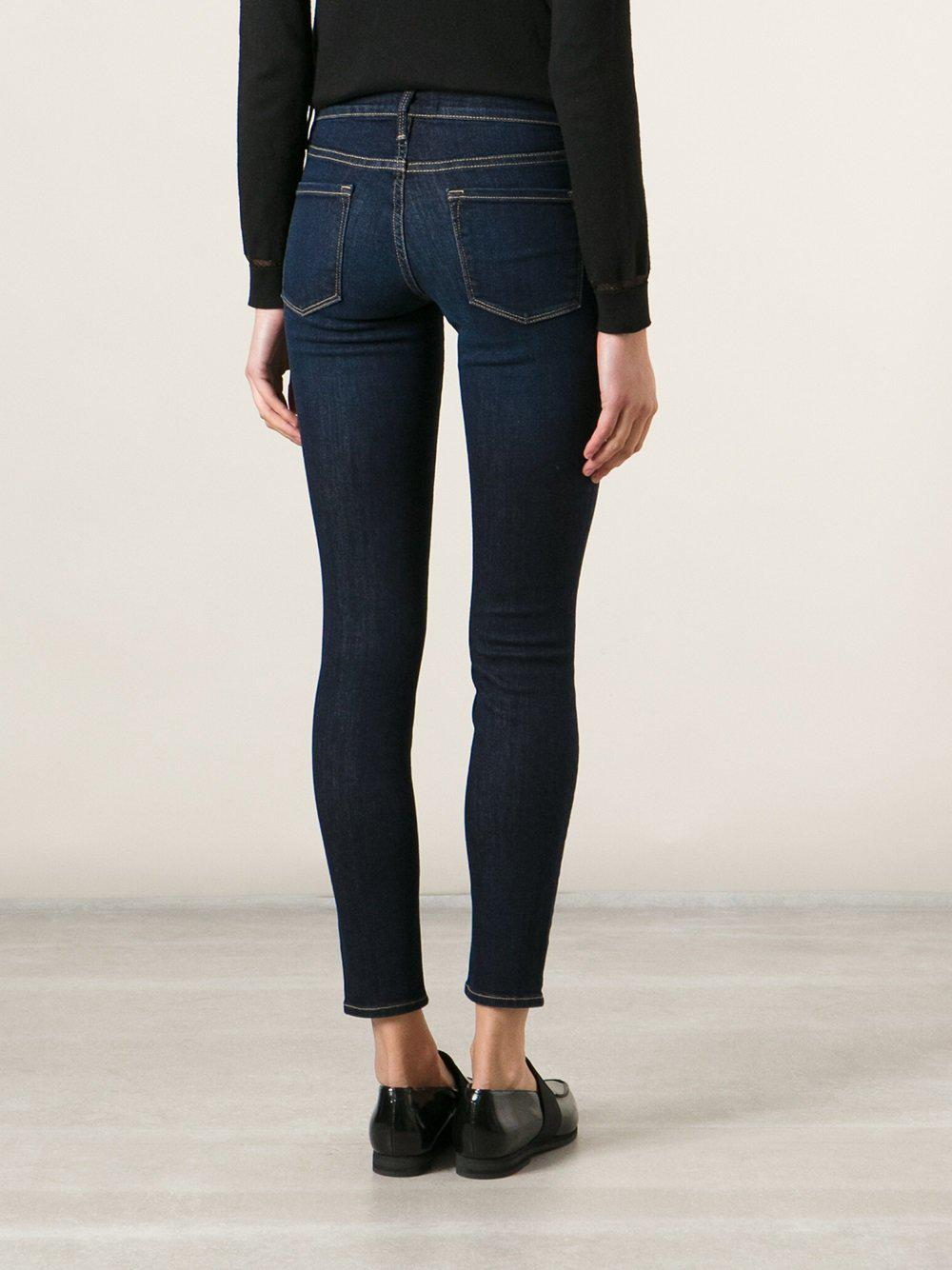 FRAME Cropped Skinny Jeans in Blue