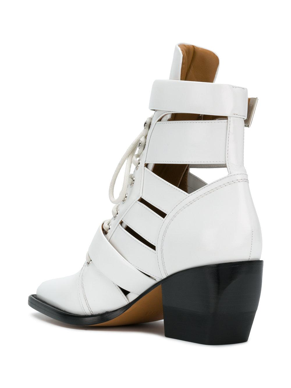 Chloé Leather Rylee Medium Boots in White