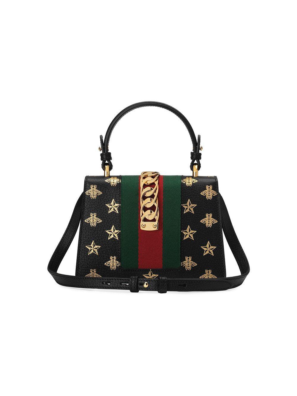 87995d8e48dc Gucci - Black Sylvie Bee Star Mini Leather Bag - Lyst. View fullscreen