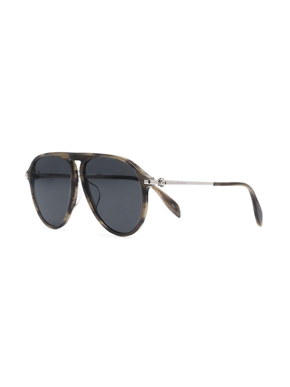 a056aa9d9a1 Alexander Mcqueen Brown Aviator Sunglasses in Metallic for Men - Save  4.129263913824062% - Lyst