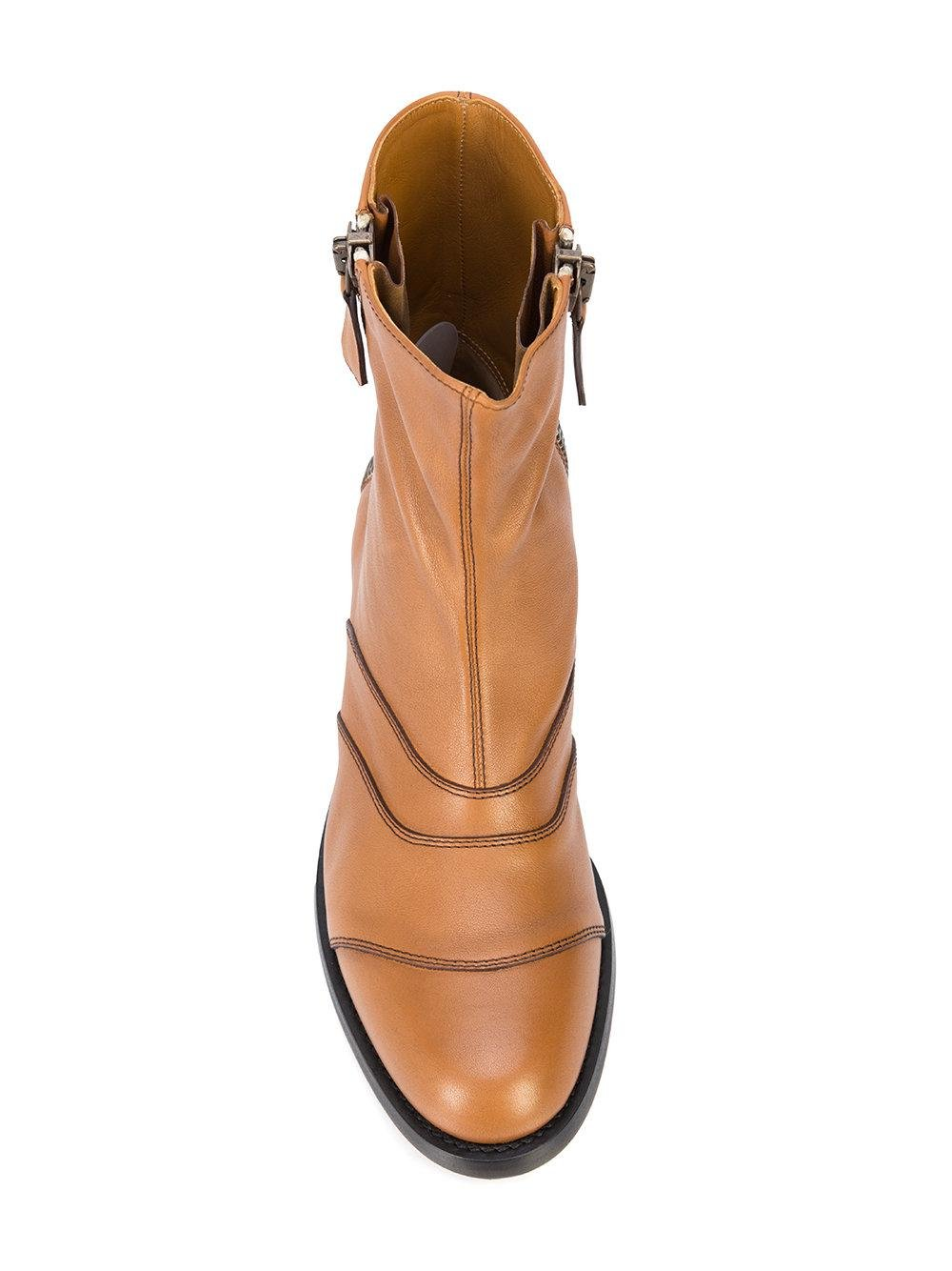Chloé Leather Lexi Boots in Brown