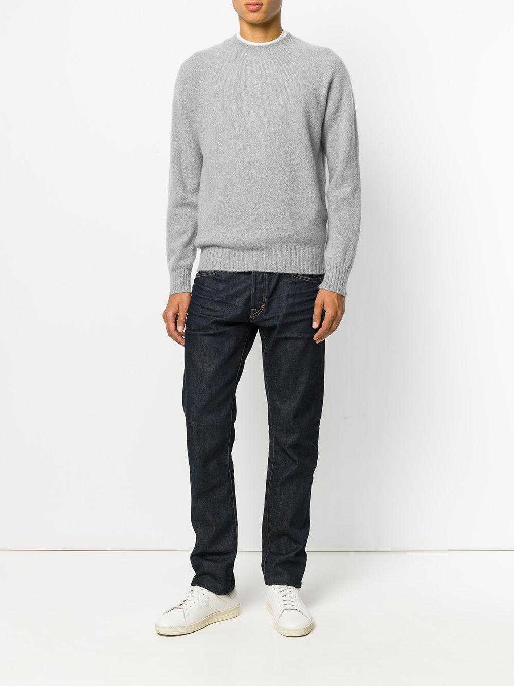 Tom Ford Cashmere Crew Neck Pullover in Grey (Grey) for Men