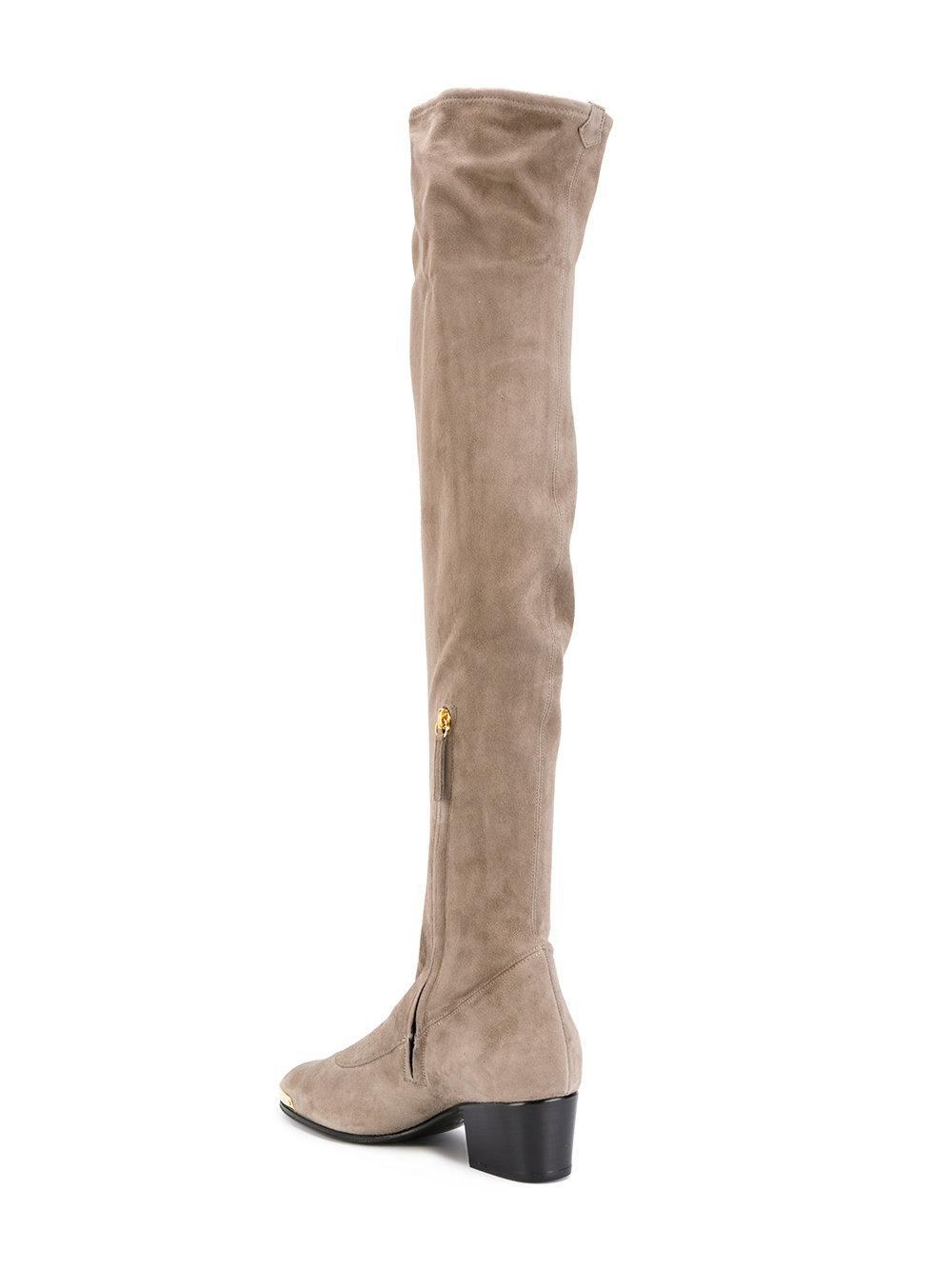 Giuseppe Zanotti Leather Thigh Length Boots in Grey (Grey)