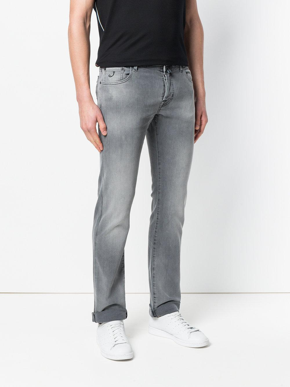Jacob Cohen Denim Stonewashed Skinny Jeans in Grey (Grey) for Men